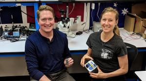 Ben Longmier (left) and Sara Spangelo. Credit_ Swarm Technologies